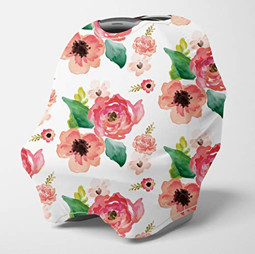 Nursing Cover Multi Use Breastfeeding Scarf - Baby Car Seat Covers, Infant Stroller Cover, Carseat Canopy for Girls (Coral Watercolor)