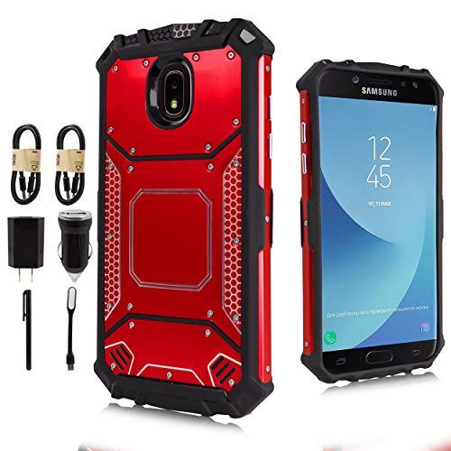 - Samsung Galaxy J3 2018, J3V J3 V 3rd Gen,Express Prime 3, J3 Star, J3 Achieve, Amp Prime 3 Case, Feather Light Aluminum Metal Rugged Cover, Composite Case [Value Bundle] (Red)