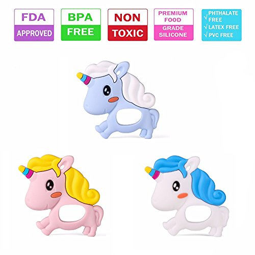 GiDiProtea Baby Unicorn BPA Free Silicone Teether Food-grade Silicone Chewable Baby Teething Pendant Pacifier FDA Compliant (Pink)