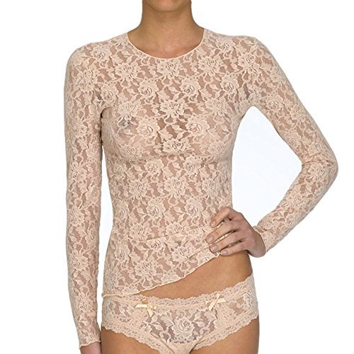 Hanky Panky Signature Lace Unlined Long Sleeve T-shirt (128L) S/Chai