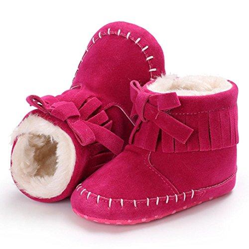 Baby Stiefel,Chshe Prewalker Säugling Süß Baumwolle Fliege Haken & Loop Stiefel Anti-Rutsch Weich Winter Warm Kind Schuhe Trainer Pink