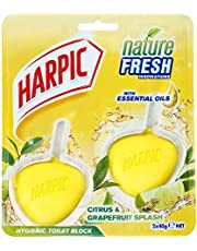 Harpic Active Fresh Hygienic Toilet Block CleanerTwin Pack, Citrus, 80 g