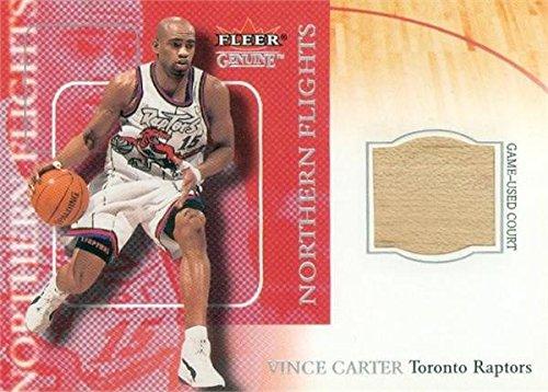 Vince Basketball Carter (Vince Carter game used court patch basketball card (Toronto Raptors) 2000 Fleer Genuine Northen Flights #2NF)