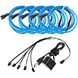 EL Wire,POSSBAY 5-Pack 1m Neon Light Glowing Decoration with USB Inverter Blue for Car Home Festival Wedding Party