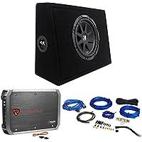 KICKER 43TC104 Comp 10 Subwoofer In Sub Box Enclosure+2-Ch. Amplifier+Amp Kit
