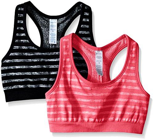 Jockey Women's 2 Pack Reversible Tonal Space Dye Seam Free Sport Bra, Black/Strawberry Pop, Large