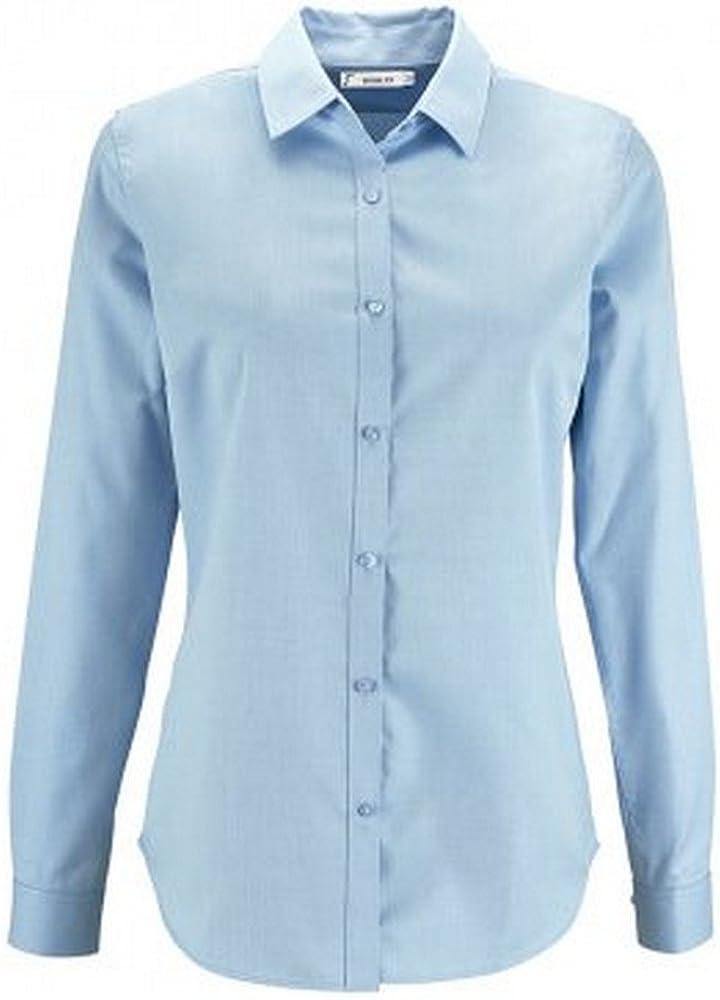 SOLS - Camisa de espiguilla y Manga Larga Modelo Brody para Mujer (XS) (Azul Cielo): Amazon.es: Ropa y accesorios