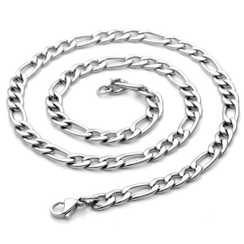 PiercingJ 24 Inches Mens Stainless Steel Silvery Link Necklace Style Figaro Chain - Length 24
