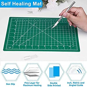 Cridoz Craft Knife Precision Cutter Carving Hobby Knife Kit Includes Self Healing Cutting Mat Hobby Knife and Blades Stainless Steel Ruler for Art Hobby Craft Scrapbooking Stencil