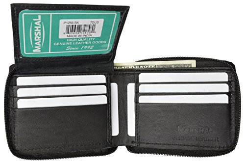 Leather Zippered Genuine Wallet (Zippered Bifold Men's Wallet Deluxe Credit Card Flip Genuine Lamb Leather -Black)