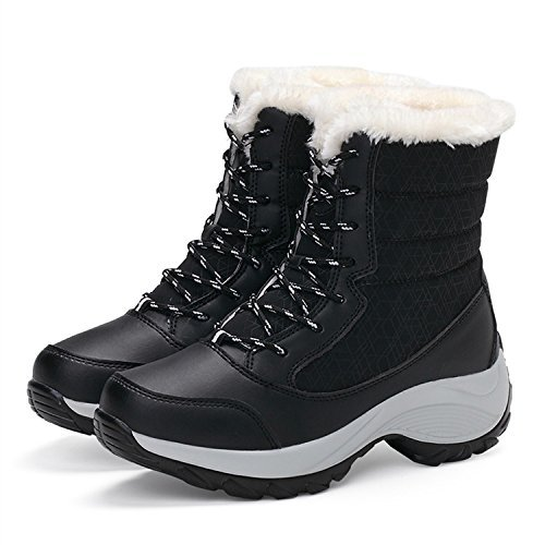 TRUPO Women Winter Warm Outdoor Waterproof Lace Up Snow Boots Black (Ultra Wide Calf Boot)