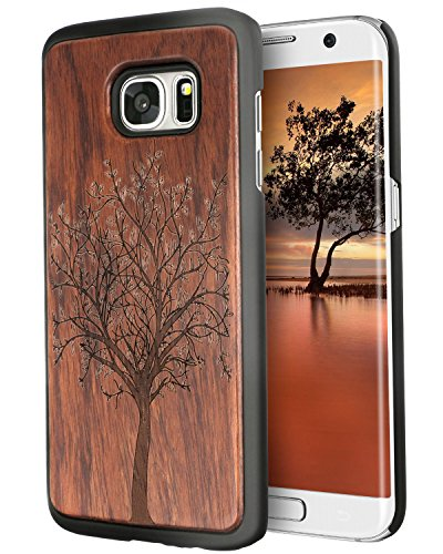 S7 Edge Case, Imikoko™ Protective Unique Handmade Natural Wood Slim Protective Hard Cover Wooden Case for Samsung Galaxy S7 Edge (Tree)