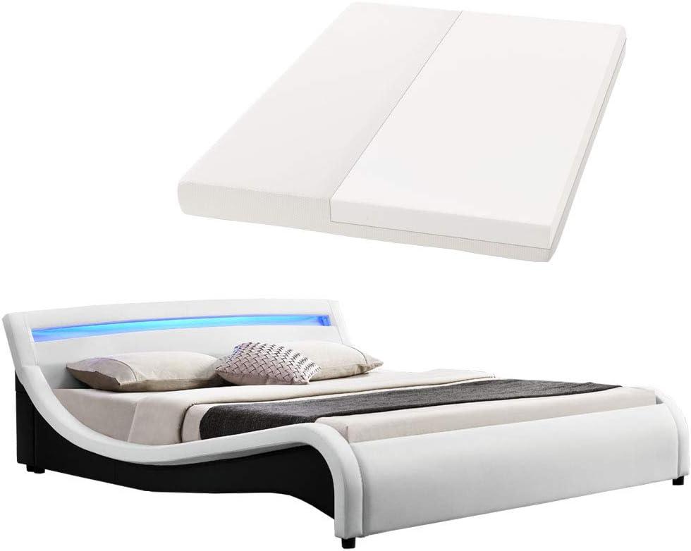 Malaga tapizada (180 x 200 cm LED Cabecero – Color Blanco con colchón de espuma fría   artlife