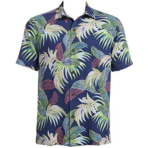Tommy Bahama Island Zone Wallis Tropics Silk Blend Camp Shirt (Color: Ocean Deep, Size XXL)
