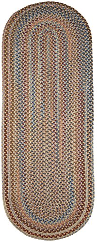 Wheat Rug (Super Area Rugs, Tribeca Textured Braided 100% Wool Rug Thick & Soft Neutral Casual Carpet, 2' X 8' Oval Runner)