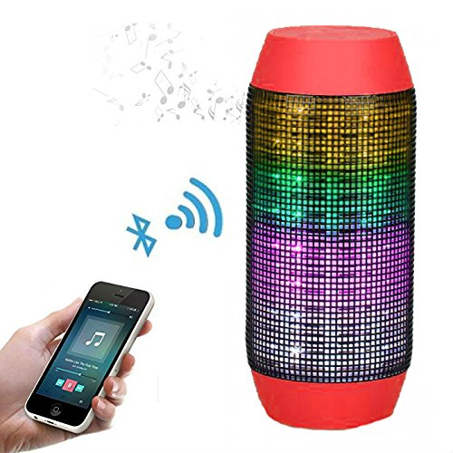Pulse Wireless Bluetooth Speaker with Dynamic Glow LED Lights and Super Bass Speakers & Microphone TF AUX USB - Red
