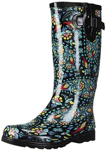 Nomad Women's Puddles Rain Boot, black/green paisley, 10 Medium ()
