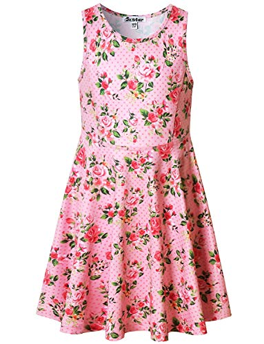 Pink Flower Dresses for Girls 5t Sleeveless Summer Sun Clothes Swing Dress -