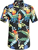 SSLR Men's Parrots Leaves Button Down Casual Short Sleeve Hawaiian Shirt (4X-Large, Black)