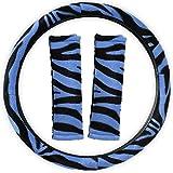 zebra blue car seat covers - Motorup America Steering Wheel Cover w/Seat Belt Pads - Blue Zebra -Fits Select Vehicles Car Truck Van SUV