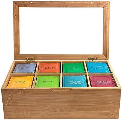Winbang Caja De La Bolsa De Té, Estuche Organizador De Caja De Té De Bambú Con Diseño: Amazon.es: Hogar