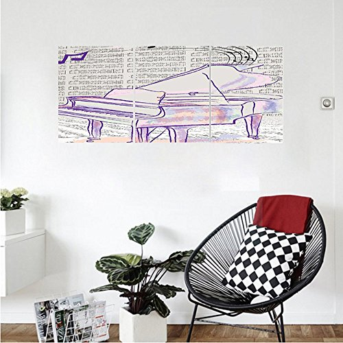 Liguo88 Custom canvas Musician Gifts Piano Grand Decor Music Notes Musical Design Decorations Abstract Art Digital Print Wall Hanging Artprints For Living Room Bedroom Outdoor Beach Throw Purple White (Finish Tv Piano Stand Gloss)