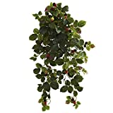 Nearly Natural 6116-S2 32' Raspberry Hanging Bush with Berry (Set of 2)