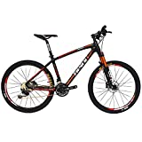 BEIOU Carbon Fiber Mountain Bike Hardtail MTB SHIMANO M610 DEORE 30 Speed Ultralight 10.65 kg RT 26 Professional Internal Cable Routing Toray T800 Glossy CB018 (Black Red, 15″)
