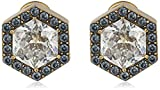 "Nicole Miller""Artelier"" Hexagonal Pave Halo Stud Earrings"