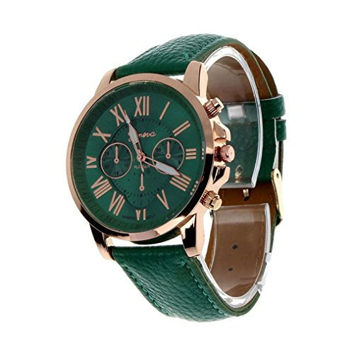 Sonnena Women's Faux Leather Analog Watch Quartz Wrist Watch Casual Stainless Steel Watch (Free, Green)