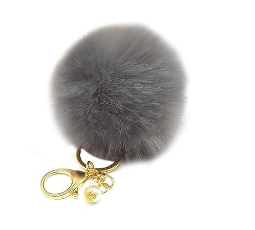Scrox 1x Llavero de Pelo de Conejo Llavero Colgante Moda Lindo Bola de Pelo Pequeños Cadena de Clave de Regalo para Decoración del ...