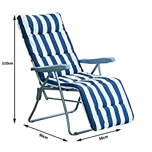 Outsunny Set of 2 Garden Patio Outdoor Sun Recliners Loungers Folding Foldable Multi Position Relaxers Chairs with…