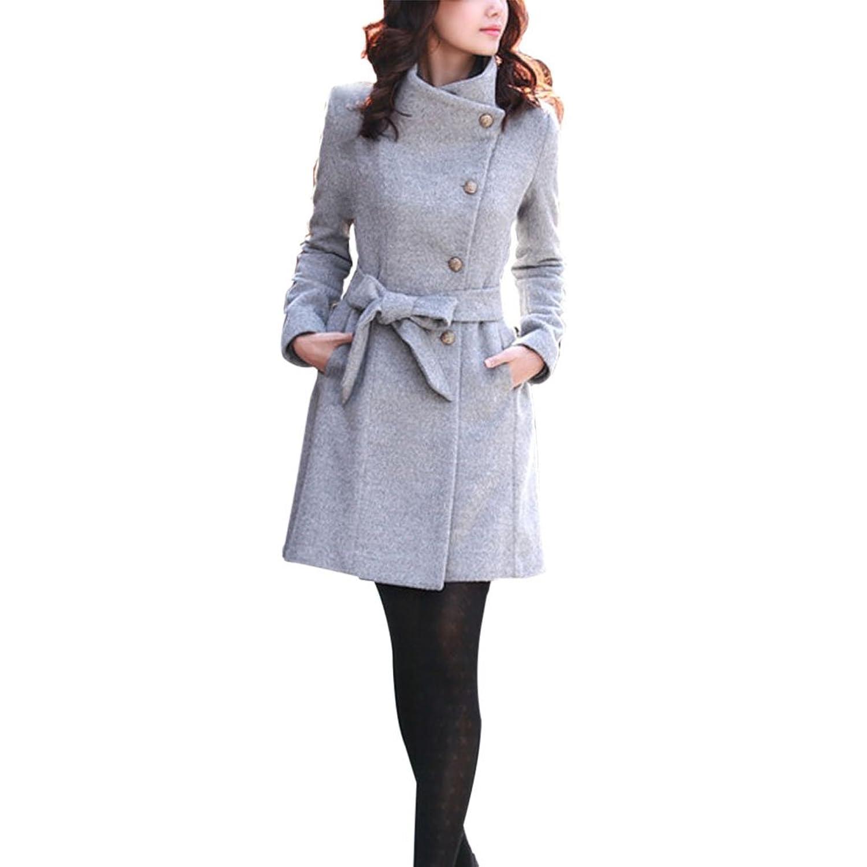 ELINKMALL Women Thicken Warm Winter Woolen Trench Coat Parka Long Outwear