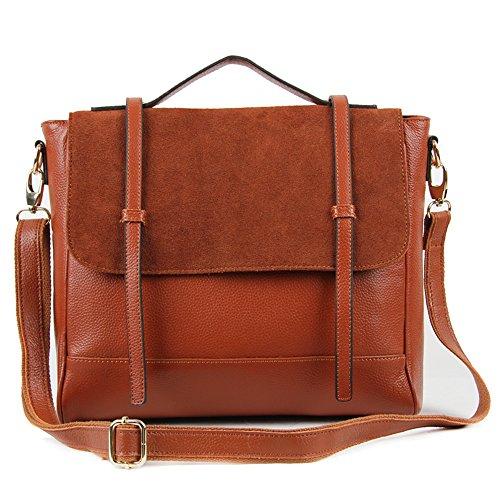 Satchel With Suede W8838 Tan Leather Flap Bag Genuine 100 nzg7gEH