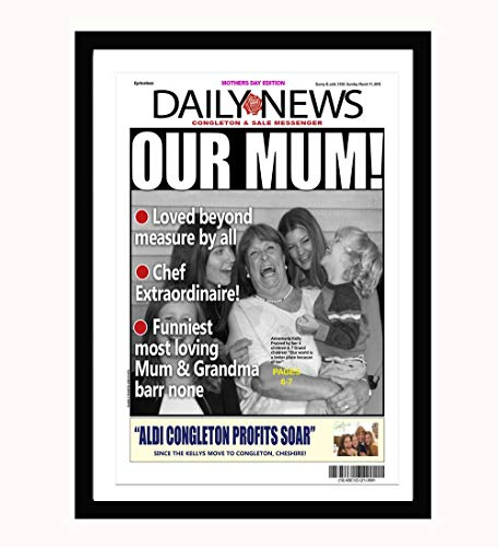 xatify Mothers Day Personalised Newspaper Front Page Print. A4; Mothers Day; Wall Art Frame