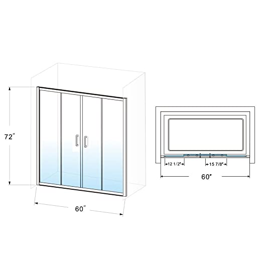 ELEGANT Double Sliding Shower Door, 58.5 – 60 W x 72 H, 1 4 Clear Glass Shower Door Enclosure, Semi-Frameless 2 Sliding Panels 2 Stationary Panels, Brushed Nickel