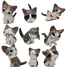 Chi Cat Toys, 9 Pcs Japanese Cute Chi's Sweet Home Cats Dolls Animal Figures Collection Toy Set For Miniature Garden Decoration(Gray)