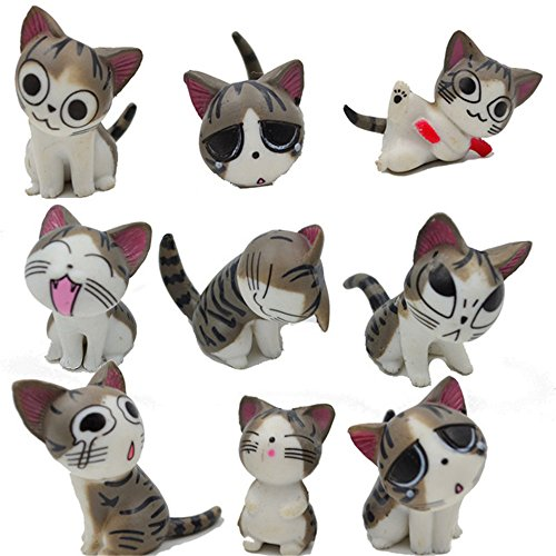 (Kimkoala Chi Cat Toys, 9 Pcs Japanese Cute Chi's Sweet Home Cats Dolls Animal Figures Collection Toy Set For Miniature Garden)