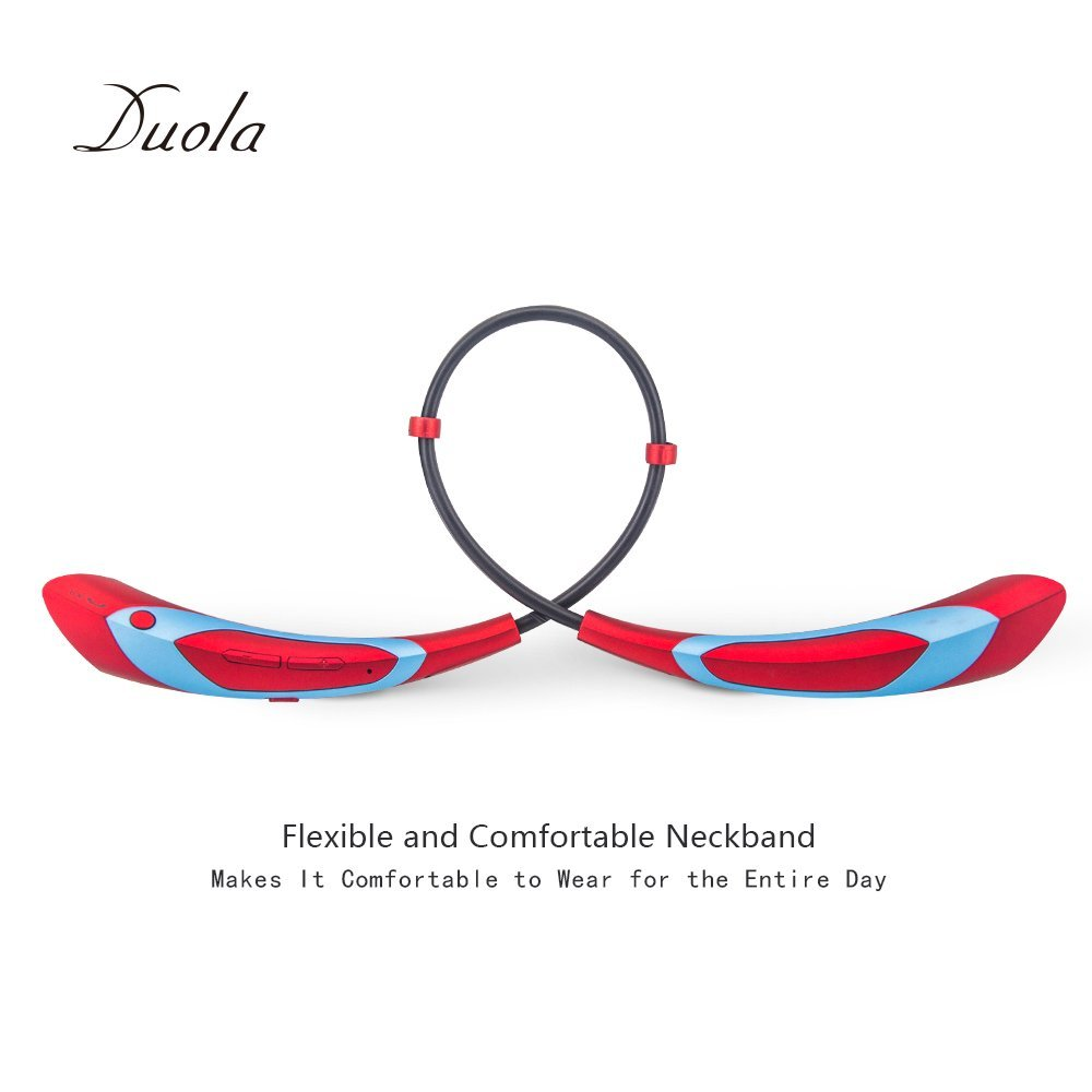 Wireless Headphone Bluetooth 4.1 Earbuds Duola Neckband Stereo Athletic Headset W Integrated Microphone For Mobile Phone Red