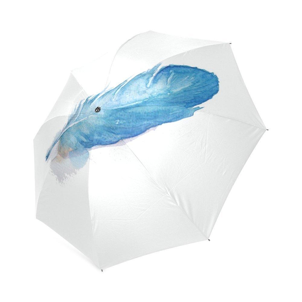 Personalized Feather Blue Foldable Umbrella Rain Compact Travel Umbrella delicate