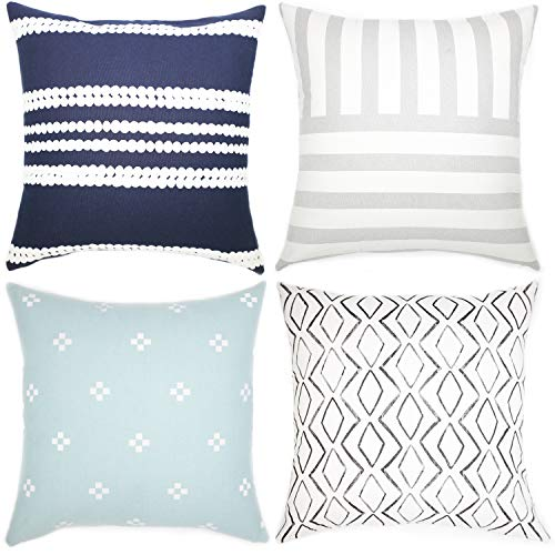 Woven Nook Decorative Throw Pillow Covers ONLY for Couch, Sofa, or Bed Set of 4 18 x 18 inch Modern Quality Design 100% Cotton Navy Blue White Blue Brighton Set