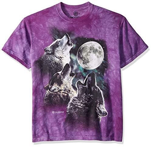 Three Wolf - The Mountain Three Wolf Moon Adult T-Shirt, Purple, Large