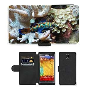PU LEATHER case coque housse smartphone Flip bag Cover protection // M00115024 Mandarin Fish Fish vertebrado Animal // Samsung Galaxy Note 3 III N9000 N9002 N9005