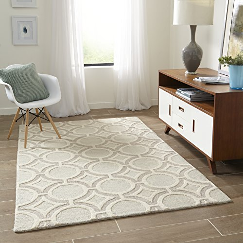 Momeni Rugs Dunes Collection, Hand Tufted 100% Wool Transitional Area Rug, 5' x 8', Sage