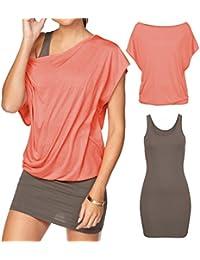 Women's 2 Piece Casual Loose T Shirt Tops Print Bodycon Mini Tank Dresses