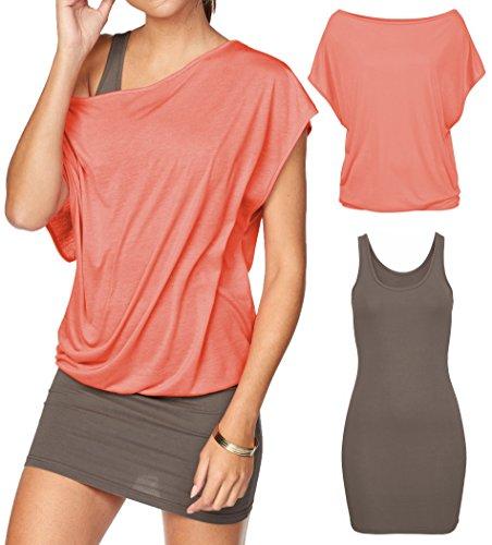 Jusfitsu Women's 2 Piece Casual Loose T Shirt Tops Print Bodycon Mini Tank Dresses Coral L