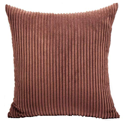 Qingell Corduroy Soft Soild Decorative Square Throw Pillow Covers Set Cushion Cases Pillowcases for Sofa Bedroom 18 x 18 ()