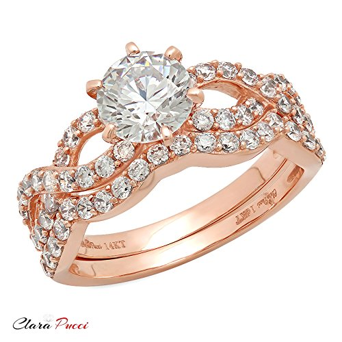 Clara Pucci 1.4 CT Round Cut Pave Halo Bridal Engagement Wedding Ring band set 14k Rose Gold