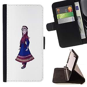 Momo Phone Case / Flip Funda de Cuero Case Cover - Pintura nativo Nacional Girl Dress Azul Arte - Samsung Galaxy S6