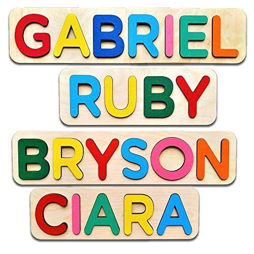 WOOD LAND Wooden Personalized Name Puzzle, FREE Engrave Message, Gift for Baby Boy and Baby Girl, Puzzles Child's Name, -